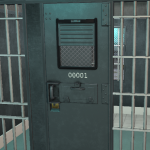 Cell door with glass
